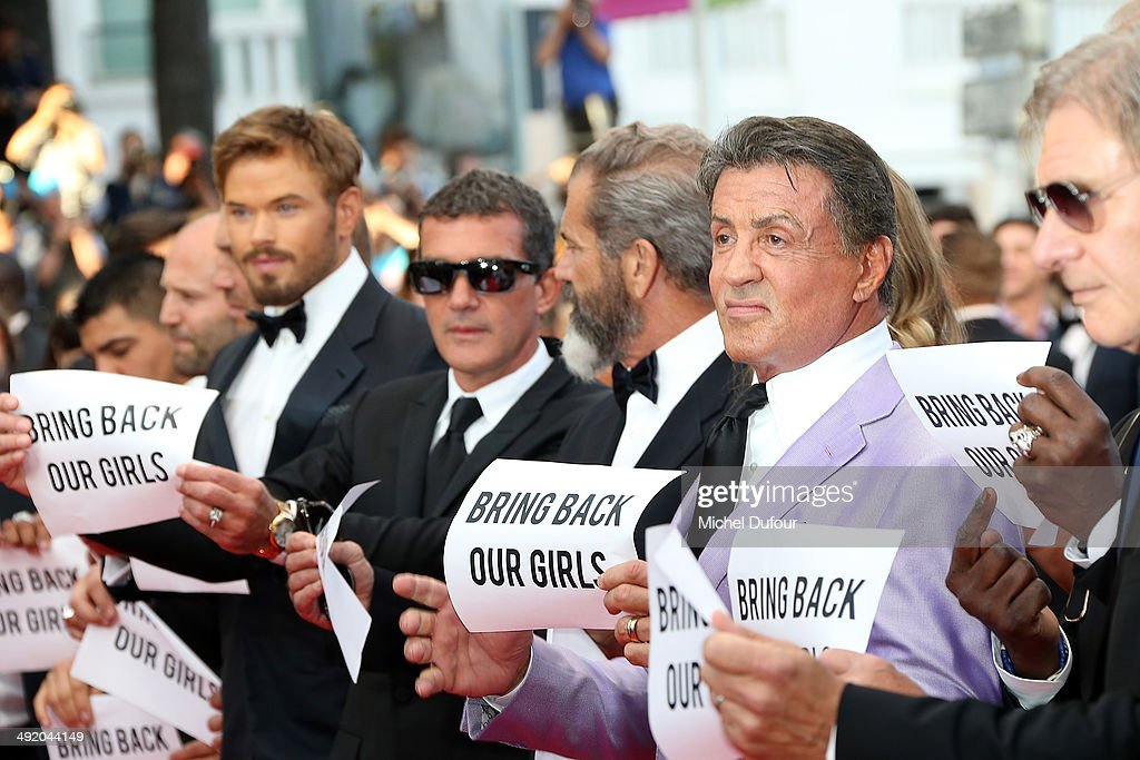 Kellan Lutz, Antonio Banderas, Mel Gibson, Sylvester Stalllone and Harrison Ford attend the Premiere of 'The Expendables 3' at the 67th Annual Cannes Film Festival on May 18, 2014 in Cannes, France.
