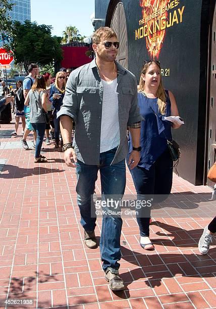 Kellan Lutz arrives at Comic Con on July 24 2014 in San Diego California