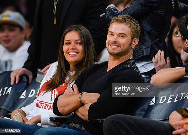 Kellan Lutz attends a basketball game between the Sacramento Kings and the Los Angeles Lakers at Staples Center on April 15 2015 in Los Angeles...