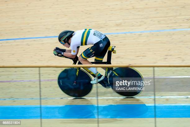 Kelland O'Brien of Australia competes in the Men's Individual Pursuit Final at the Hong Kong Velodrome during the Track Cycling World Championships...