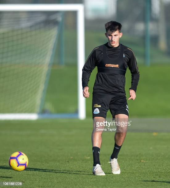 Kelland Watts during the Newcastle United Training Session at The Newcastle United Training Centre on November 15 in Newcastle upon Tyne England