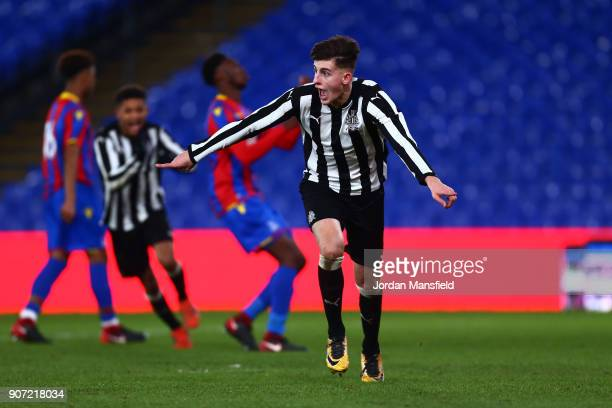 Kelland Watts of Newcastle celebrates scoring his sides third goal during the FA Youth Cup Fourth Round match between Crystal Palace and Newcastle...
