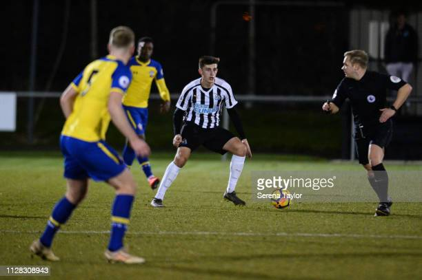 Kelland Watts of Newcastle controls the ball during the Premier League 2 Match between Newcastle United and Southampton at Whitley Park on February...