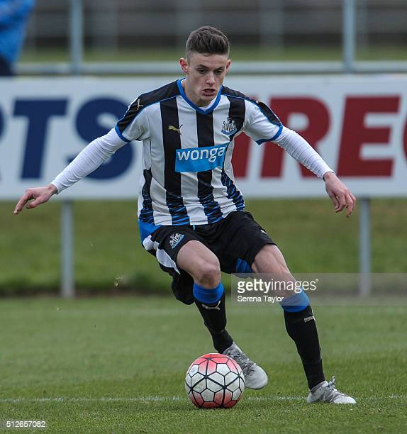 Kelland Watts of Newcastle controls the ball during the U18 Premier League Match between Newcastle United and Derby County at Newcastle United's...