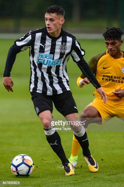 Kelland Watts of Newcastle controls the ball during the Under 18 Premier League match between Newcastle United and Brighton and Hove Albion at...