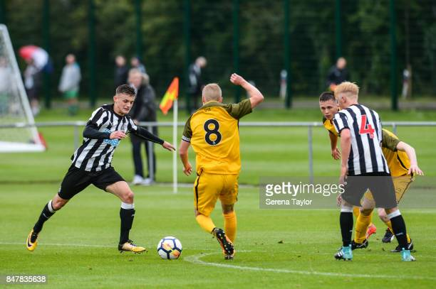 Kelland Watts of Newcastle looks to strike the ball during the Under 18 Premier League match between Newcastle United and Brighton and Hove Albion at...