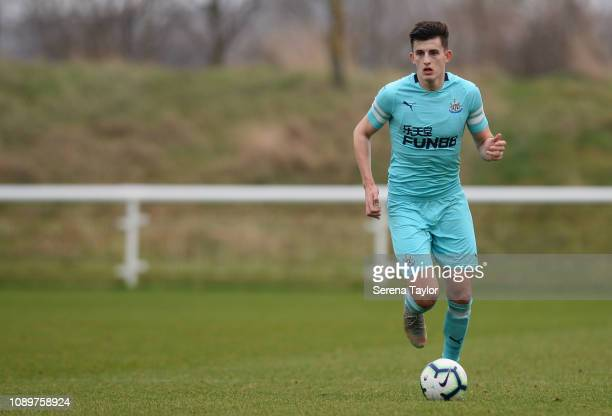 Kelland Watts of Newcastle United controls the ball during the premier league 2 match between Sunderland FC and Newcastle United at The Academy of...