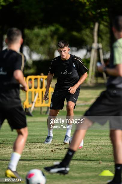 Kelland Watts of Newcastle United looks to pass the ball during the Newcastle United Pre Season Training session at the Wellington College on July 18...
