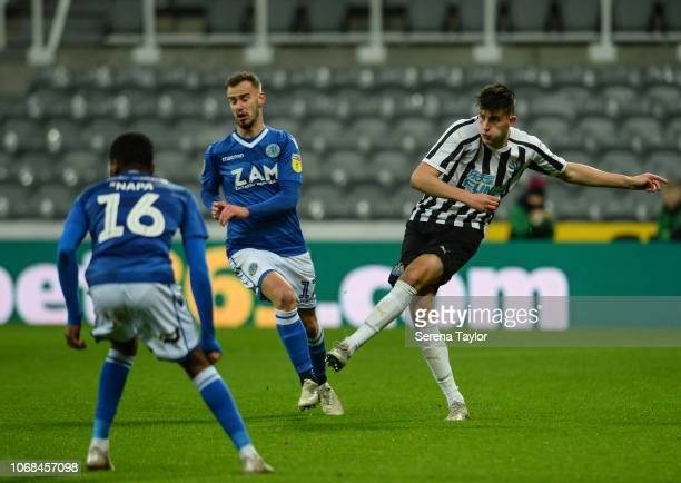 Kelland Watts of Newcastle United passes the ball during the Checkatrade Trophy Match between Newcastle United and Macclesfield Town at StJame's Park...