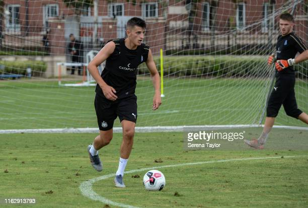 Kelland Watts of Newcastle United runs with the ball during the Newcastle United Training Session at the Wellington College on July 19 2019 in...