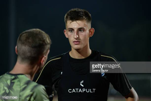 Kelland Watts of Newcastle United speaks to NUFCTV during the Newcastle United Training session at Nanjing Olympic Sports Center on July 15 2019 in...