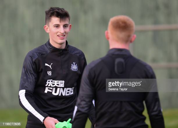 Kelland Watts smiles at Matthew Longstaff during the Newcastle United Training Session at the Newcastle United Training Centre on January 13 2020 in...