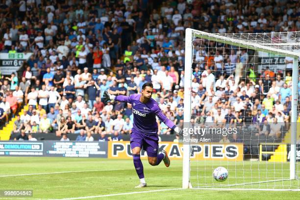 Kelle Roos Goalkeeper of Derby County covers his far post as the ball runs out of play during a PreSeason match between Notts County and Derby County...