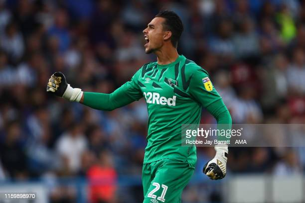 Kelle Roos of Derby County celebrates during the Sky Bet Championship match between Huddersfield Town and Derby County at John Smith's Stadium on...