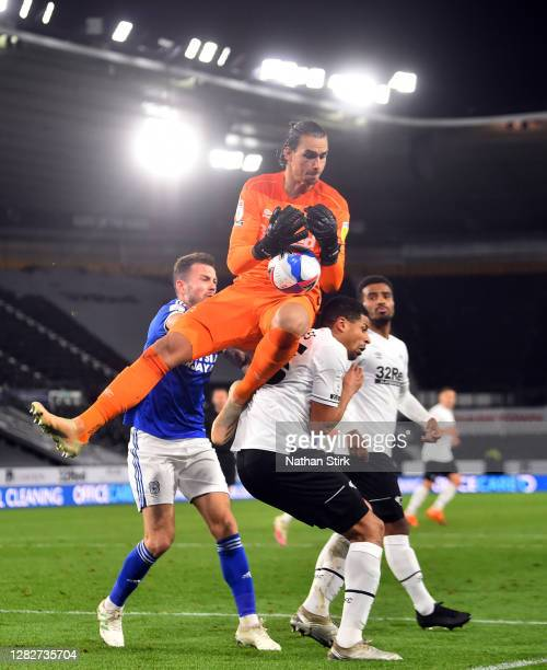Kelle Roos of Derby County comes out of goal to catch the ball during the Sky Bet Championship match between Derby County and Cardiff City at Pride...