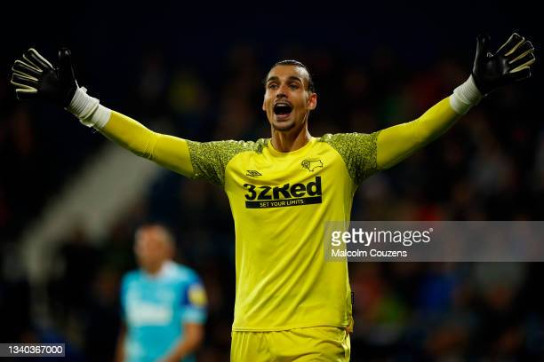 Kelle Roos of Derby County reacts during the Sky Bet Championship match between West Bromwich Albion and Derby County at The Hawthorns on September...