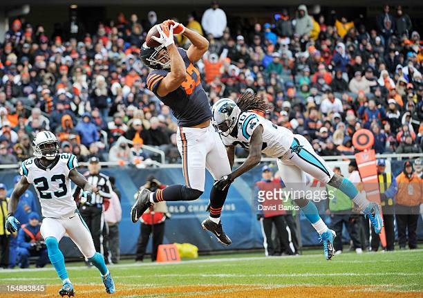 Kellen Davis of the Chicago Bears catches a touchdown pass as Charles Godfrey of the Carolina Panthers and Sherrod Martin defend him on October 28...