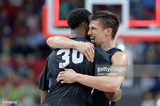 Kellen Dunham and Kelan Martin of the Butler Bulldogs celebrate the Bulldogs 7161 victory against the Texas Tech Red Raiders in the first round of...