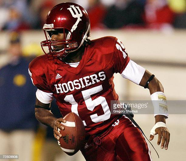 Kellen Lewis of the Indiana Hoosiers scrambles against the Michigan Wolverines on November 11 2006 at Memorial Stadium in Bloomington Indiana...