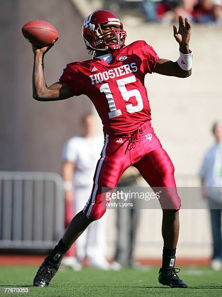Kellen Lewis of the Indiana Hoosiers throws a pass against the Ball State Cardinals during the game at Memorial Stadium November 3 2007 in...