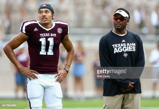 Kellen Mond of the Texas AM Aggies and head coach Kevin Sumlin of the Texas AM Aggies at Kyle Field on September 16 2017 in College Station Texas