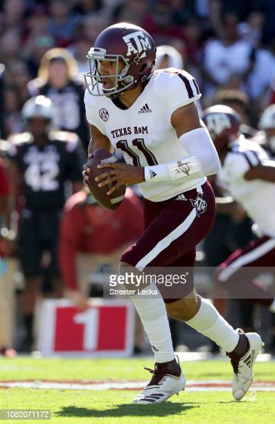 Kellen Mond of the Texas AM Aggies runs with the ball against the South Carolina Gamecocks during their game at WilliamsBrice Stadium on October 13...