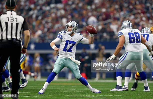 Kellen Moore of the Dallas Cowboys throws against the Washington Redskins during the first half at ATT Stadium on January 3 2016 in Arlington Texas