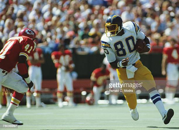 Kellen Winslow of the San Diego Chargers after catching a pass in a game against the Kansas City Chiefs on September 20 1981 in Kansas City Missouri...