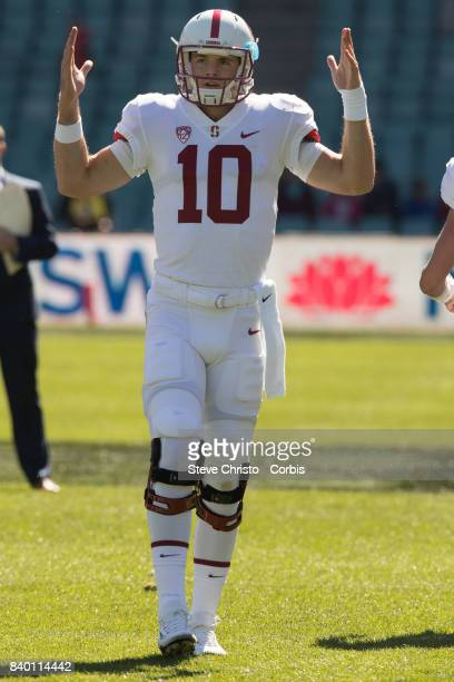 Keller Chryst of Stanford warms up before the College Football Sydney Cup match between Stanford University and Rice University at Allianz Stadium on...