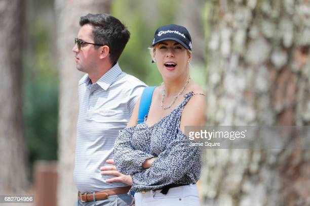 Kelley Cahill girlfriend of Jon Rahm of Spain looks on during the third round of THE PLAYERS Championship at the Stadium course at TPC Sawgrass on...
