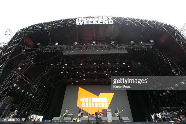 Kelley Deal Kim Deal and Josephine Wiggs of The Breeders performs at the BBC Biggest Weekend at Titanic Slipways on May 25 2018 in Belfast Northern...