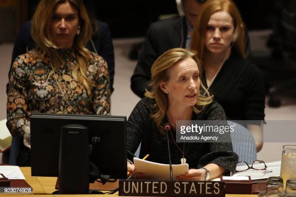 Kelley E Currie US Representative on the Economic and Social Council at the United Nations makes a speech during the United Nations Security Council...