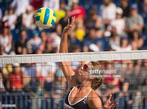 Kelley Larsen of team USA vs Guatemala during the the preliminary rounds of beach volleyball competition at the 2015 PanAm Games in Toronto