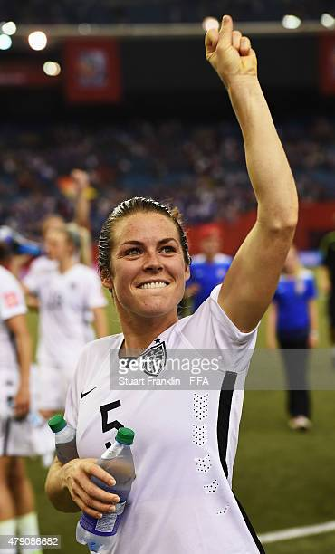 Kelley O Hara of USA celebrates her team's win at the end of the FIFA Women's World Cup Semi Final match between USA and Germany at Olympic Stadium...