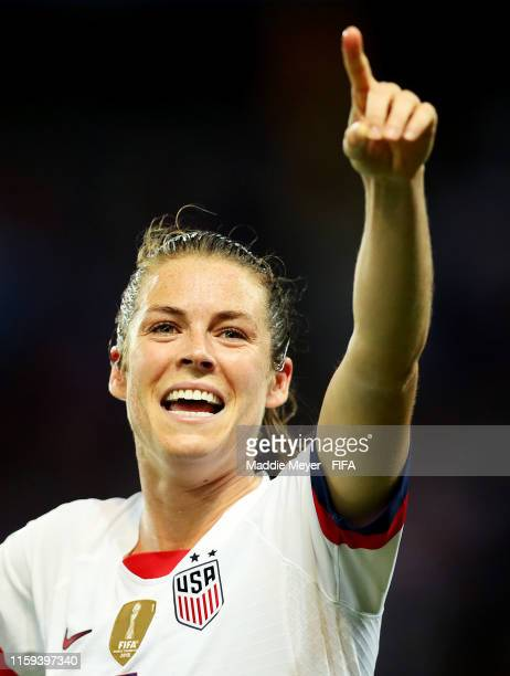 Kelley O'Hara celebrates after the 2019 FIFA Women's World Cup France Quarter Final match between France and USA at Parc des Princes on June 28 2019...