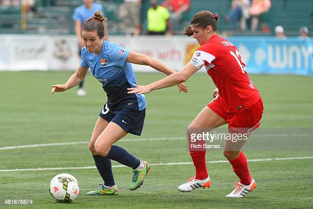 Kelley O'Hara of the Sky Blue FC controls the ball against the defense of Brittany Taylor of the Western New York Flash during the second half at...