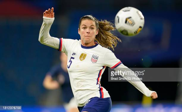 Kelley O'Hara of the United States during a game between France and USWNT at Stade Oceane on April 13, 2021 in Le Havre, France.