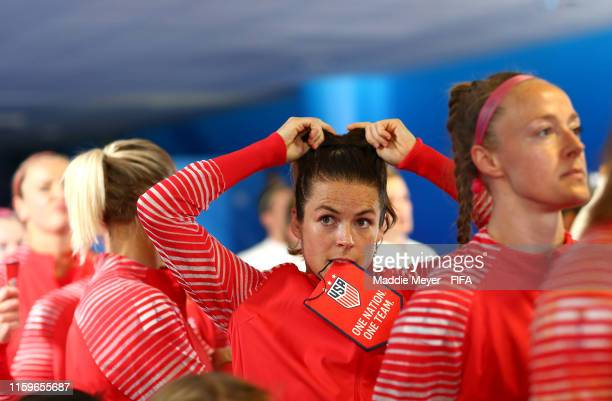Kelley O'hara of the USA looks on in the tunnel prior to the 2019 FIFA Women's World Cup France Semi Final match between England and USA at Stade de...