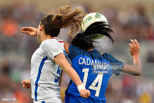 Kelley O'Hara of United States and Louisa Necib of France battle for the ball during the Women's Group G first round match between United States and...