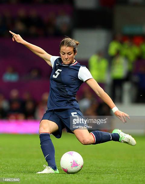 Kelley O'hara of United States kicks during the Women's Football Semi Final match between Canada and USA on Day 10 of the London 2012 Olympic Games...