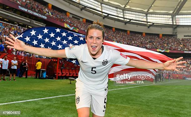 Kelley O'Hara of USA celebrates after victory in FIFA Women's World Cup 2015 Final between USA and Japan at BC Place Stadium on July 5 2015 in...