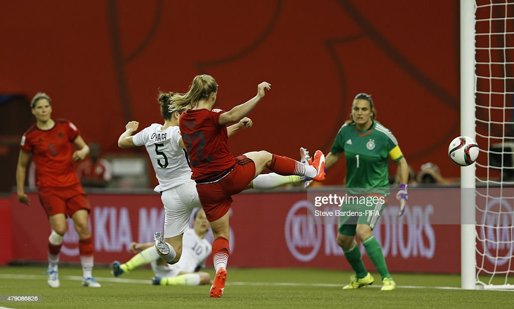 Kelley O'Hara of USA celebrates scores a goal during the FIFA Women's World Cup 2015 semi final match between USA and Germany at Olympic Stadium on June 30, 2015 in Montreal, Canada.