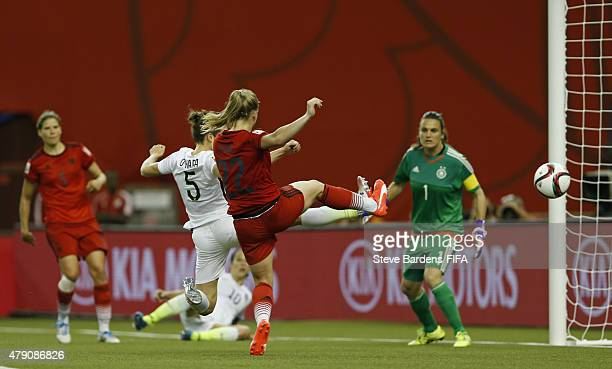 Kelley O'Hara of USA celebrates scores a goal during the FIFA Women's World Cup 2015 semi final match between USA and Germany at Olympic Stadium on...