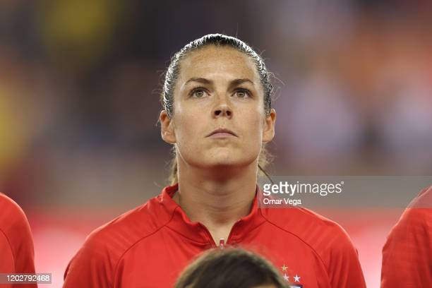 Kelley O'Hara of USA stands during the National Anthem before the group A game between United States and Haiti as part of the CONCACAF Women's...