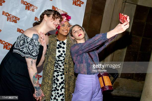 Kelley Rand Jaime Lee Kirchner and Annabelle Attanasio attend the Rooftop Films Spring Gala at St Bart's church on April 08 2019 in New York City
