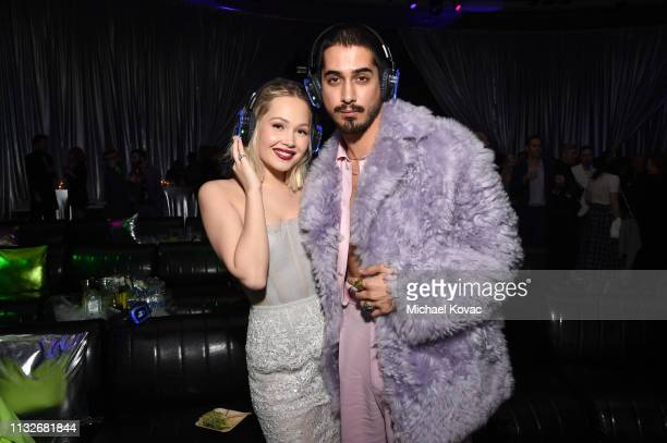 Kelli Berglund and Avan Jogia attend the Now Apocalypse Los Angeles Premiere after party at Hollywood Palladium on February 27 2019 in Los Angeles...
