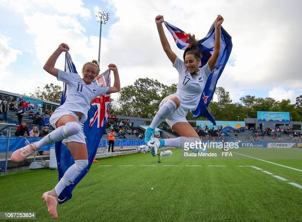 Kelli Brown and Ayla Pratt of New Zealand celebrate after winning the FIFA U17 Women's World Cup Uruguay 2018 3rd place match between New Zealand and...