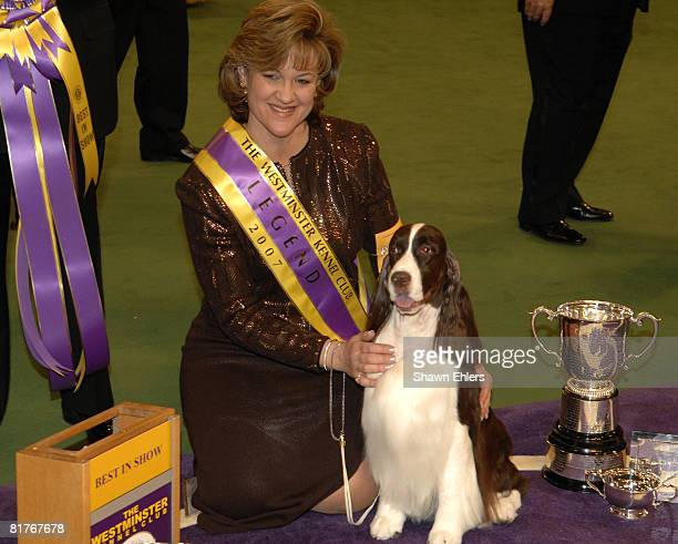 Kelli Fitzgerald and James Champion Felicity's Diamond Jim English Springer Spaniel winner of best in show during the 2007 Westminster Kennel Club...