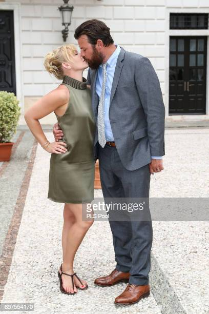 Kelli Giddish and husband Lawrence Faulborn attend the cocktail party of the 57th Monte Carlo TV Festival at the Monaco Palace on June 18 2017 in...