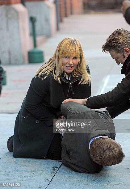 Kelli Giddish and Peter Scanavino on the set of 'Law Order' Special Victims Unit on November 22 2016 in New York City